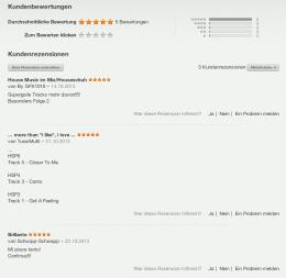 Erste iTunes Bewertungen für Houseschuh
