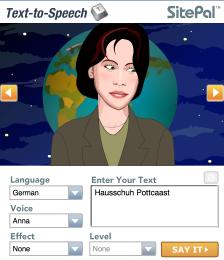 Hausschuh Pottcast, Sprecherin Anna