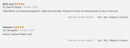 Houseschuh-Bewertungen bei iTunes