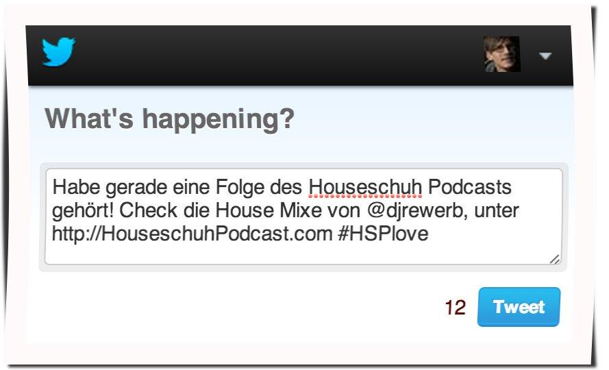 Click2Tweet: Vorbereiteter Tweet zu Houseschuh