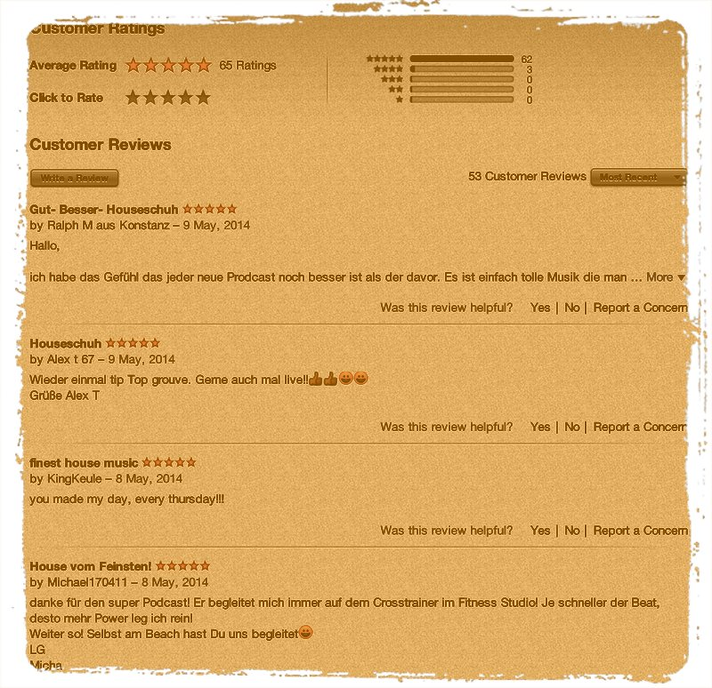Houseschuh iTunes-Rezensionen am 14. Mai 2014