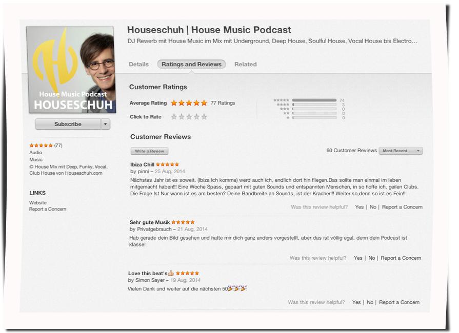 iTunes Rezensionen, Houseschuh, August 2014