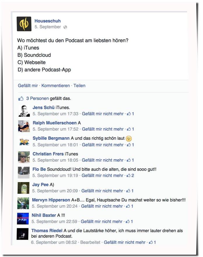 Umfrage bei Facebook