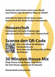Flyer A6, Houseschuh Podcast, Rückseite