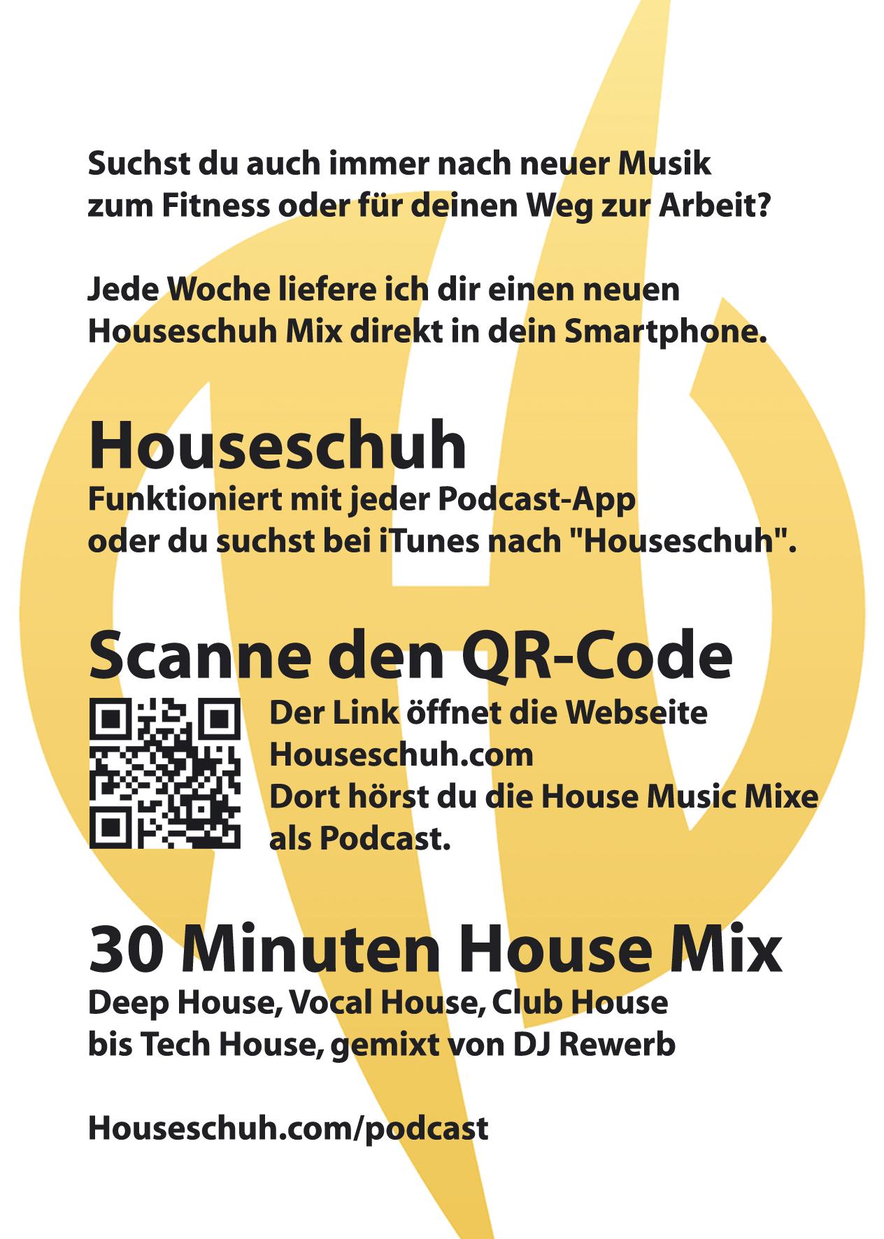 Flyer A6, Houseschuh Podcast, Rückseite