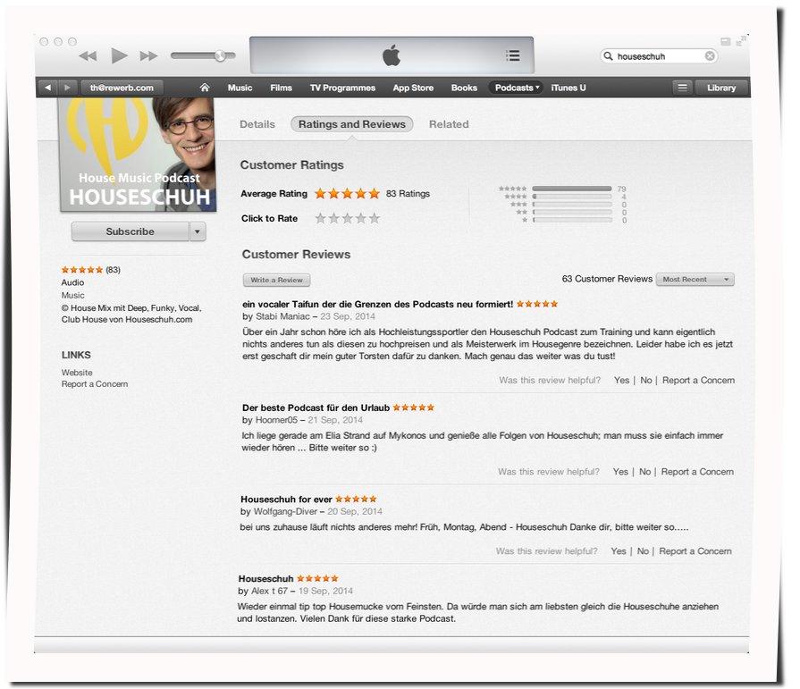 iTunes Bewertungen für Houseschuh