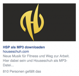 Houseschuh Anzeige bei Facebook