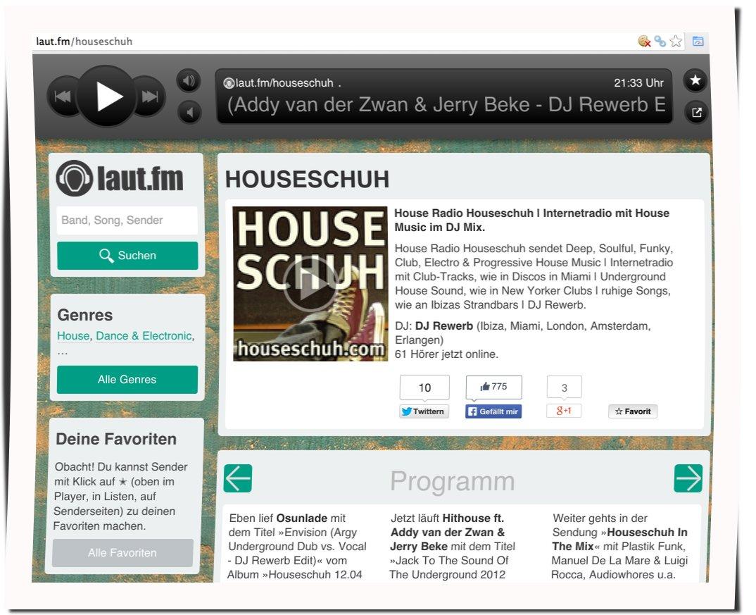 Houseschuh als Webradio bei Laut.fm