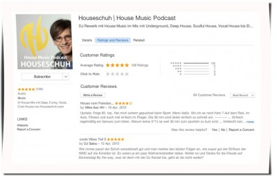 Houseschuh Rezensionen bei iTunes, April 2015