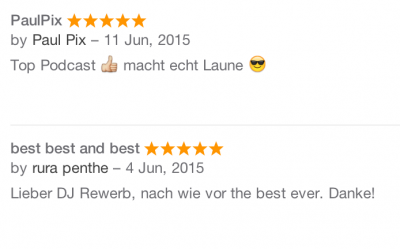 Houseschuh Rezension bei iTunes, Juni 2015