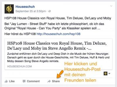 Houseschuh bei Facebook teilen