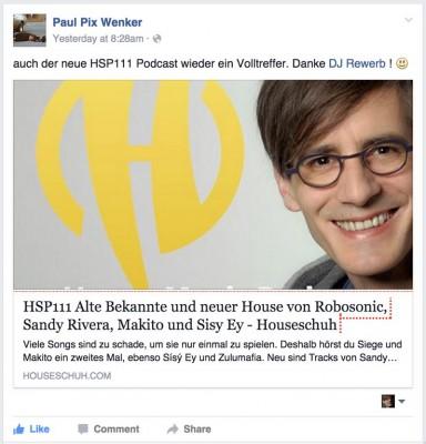 Paul Pix, HSP111 bei Facebook