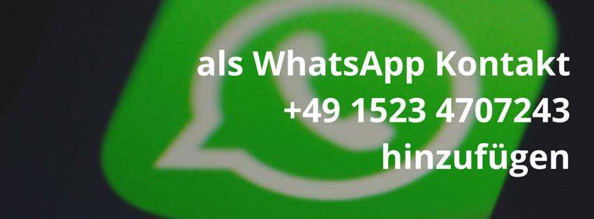 Houseschuh als WhatsApp Kontakt hinzufügen
